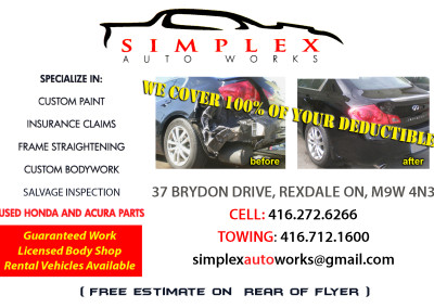 Simplex Auto Works-Flyer Front